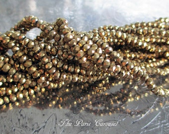 2 mm x 3 mm faceted rondelle crystal glass beads metallic antiqued gold, full 15-inch strand, approximately 200 beads