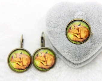 SET earrings and ring  Fox dress