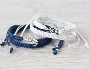 Anchor bracelet for men and women Matching couple bracelets Macrame bracelet Friendship bracelet Couples set His and her bracelet - set of 4