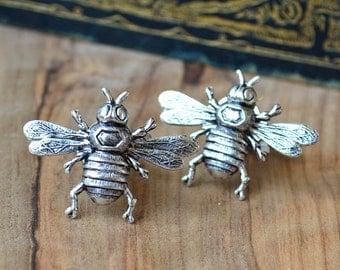 Bee Cufflinks,  Bee Cuff Links, Silver Bee Cufflinks,  Bee Boyfriend Cufflinks, Fathers Cufflinks, Bee Dad Cufflinks