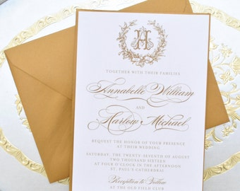 monogram invites | etsy, Wedding invitations