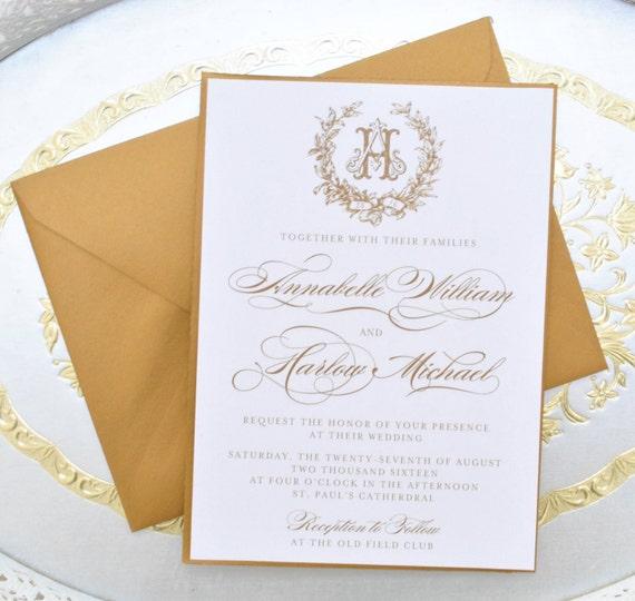 Gold Wedding Invitation Monogram Invitations Elegant Wedding