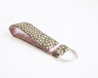 short lanyard handmade keychain dotted dots patterned fabric