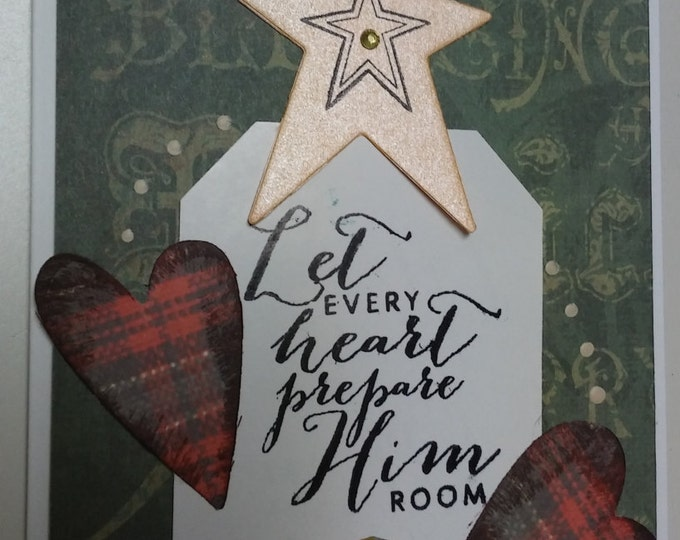 Set of 10 Rustic Christmas Cards, LET every heart prepare HIM room, Handmade Christian Card, Religious Christmas card
