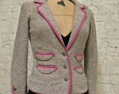 RESERVED - 80s Spectacular Adolfo Boucle Jacket - All Handmade - Gold Buttons and Chains