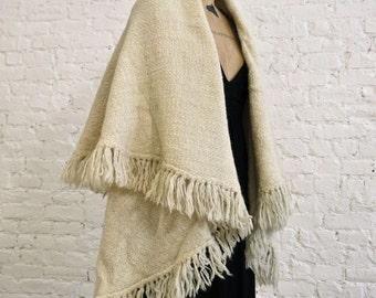 70s Virgin Wool  Shawl Poncho Cape - Hand Knit