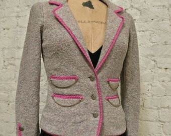80s Spectacular Adolfo Boucle Jacket - All Handmade - Gold Buttons and Chains