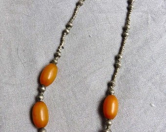 70s Silver and Amber Necklace from Ethiopia