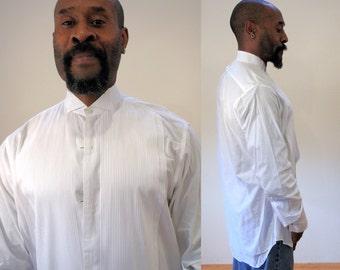 Vintage Brooks Brothers Tux Shirt, White Tuxedo Shirt, Black Tie Formal Shirt, Wing Collar Men's Evening Shirt, Size 15 Medium