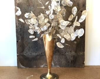 Vintage Brass Vase • Scroll Design • Footed