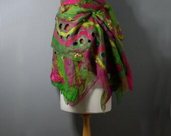 Felted scarf Nuno felted scarf Felt shawl merino wool chiffon silk pink green yellow  felt wool silk scarf winter scarf wool wrap