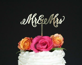 Wedding Cake Topper, Mr and Mrs Wedding Cake Topper, Gold Wedding Cake Topper, Acrylic Cake Topper