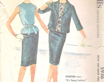Vintage 1961 McCall's 5936 Junior Three-Piece Suit Sewing Pattern Size 13 Bust 33""