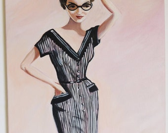 Anna, vintage woman in a striped pencil dress with glasses.