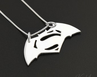 Batman v Superman necklace 925 sterling silver necklace Superhero pendant comes with Italian box chain gift for women