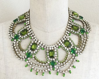 Vintage Glass Crystal Necklace and Earrings SET