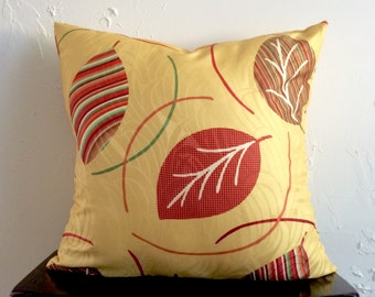 Yellow Floral Pillow Cover, 18x18 Decorative Pillow Cover, Colorful Leaf Pillow Cover