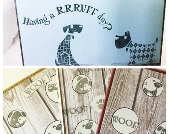 Hand made card- Having a Rrruff day? - Dog cards - cheer up cards - Woof - hand stamped - Wcards