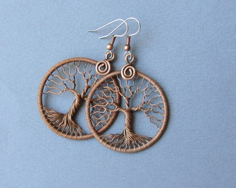"""Tree-Of-Life earrings Wire wrapped copper and ear hook surgical steel Round earrings Universal gift Her Anniversary gift Diameter 1.5""""  MW21"""