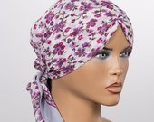 Gray and Pink Floral Turban Hat. Spring hat wraps. Cotton Turban. Beach turban hat. Summer Cotton turban.