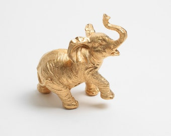 The Wilhelmina - Gold Table Top Elephant Decoration - Animal Statue - Faux Taxidermy