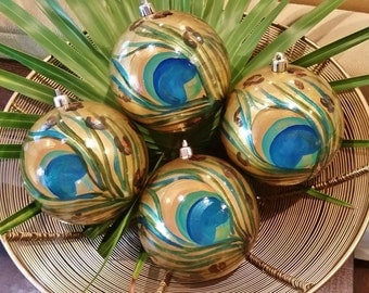 "Peacock Ornament with Leopard Print, hand painted set of four, Shatterproof, 4"" diameter ball ornament"