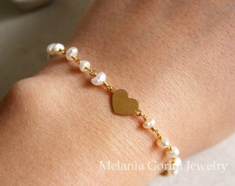 YOUNG collection-Vermeil gold bracelet, heart link, freshwater pearls rosary chain