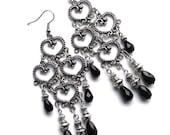 Long Bohemian Chandelier Earrings Bellydance Earrings Antiqued Silver Filigree Boho Earrings Tribal Gypsy Black Drops