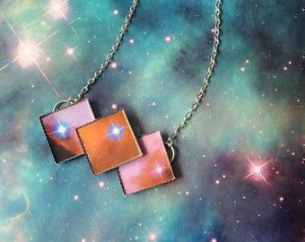 Triple pastel galaxy diamond necklaces