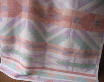 Vintage Southwest Blanket - Beacon Style Camp Blanket - Cotton Jacquard Pastel Colors
