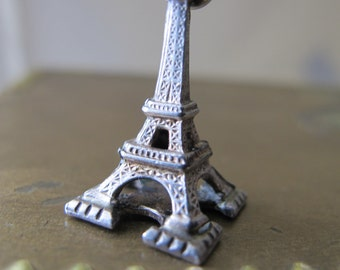FRENCH Made Souvenir Eiffel Tower (larger size than most) Sterling Silver Charm Pendant. French Hallmarks.Boars Hand Silver Assay Mark PARIS