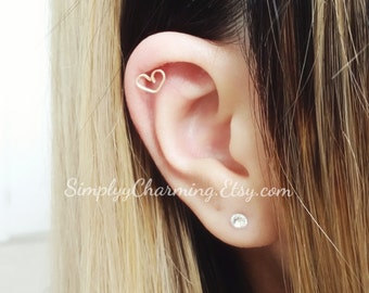 Tiny Heart Cartilage Earring Helix Jewelry Love Simple - Sterling Silver, 14K Gold Filled