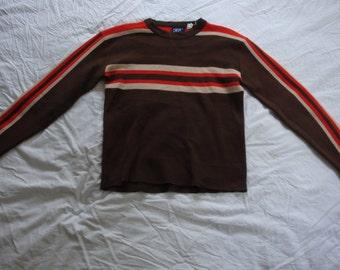 Vintage 70s KP Brown Striped Ski Lodge Winter Sweater - Size Large