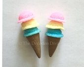 Pastel Ice Cream Cones - 2 pcs   Kawaii Decoden Supplies   Polymer Clay Cabochons   Miniature Sweets   DIY Phone Case