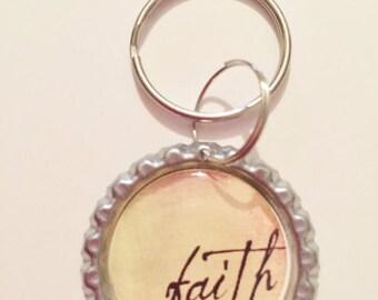 Faith Keychain Christian Key Chain, God Jesus Faith, Black, Daisy Flower, ScriptureKey Chain, Pastor Gift Zipper Pull Purse Charm