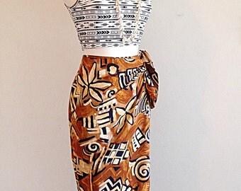 Tribal Tiki Tropical Sarong Skirt