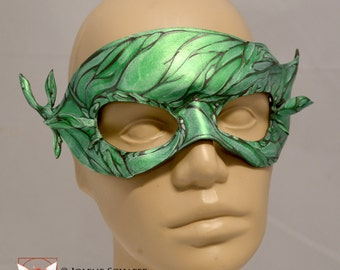 GreenMan GreenWoman Dryad Sprite Woodland Leaf Leather Half Mask