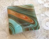 Fused Glass Ring Dish, Turquoise Orange Southwest Square Ring Dish, Trinket Tray