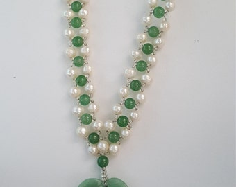 Jade and pearl woven necklace with Aventurine Pendant
