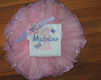 Butterfly Personalized Baby Girl's First Birthday Bodysuit Tutu Set 1st (2nd also available)