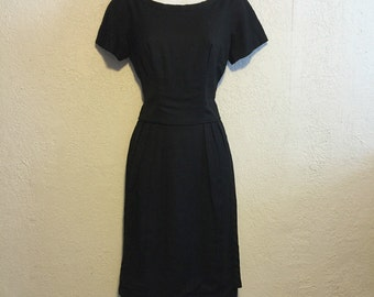 Vintage Black 1950s Dress with Apron Skirt Detail by GiGi Young