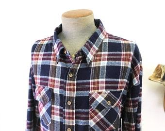1980s Men's SEARS Plaid Flannel Shirt Vintage Blue & Burgundy Acrylic Long Sleeve Shirt by Sears - Size 4XL