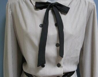 Vintage Pinstripe Shirtwaist Dress Peter Pan Bow Neck Day Office Dress