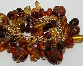 Amber chunky bracelet, gold tone chuncky bracelet, brown chuncky bracelet, bracelet, bead bracelet, gold tone bead bracelet