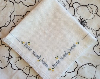 Vintage Home Sweet Home Cross Stitch Napkin With Yellow Flowers