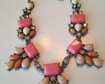 Vintage Necklace ~ Pinks & Melon Color Cabachons ~ Rhinestones ~ Statement Piece ~ NICE