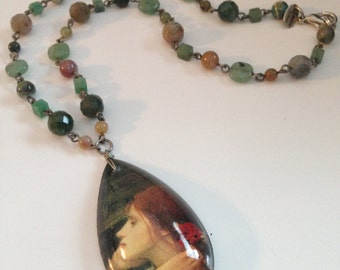 Vintage Lenore Solmo Necklace ~ One of a Kind ~ Antique Look Pendant ~ Earthtone Beads~ NICE