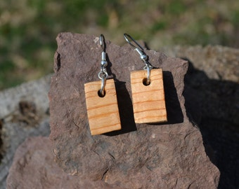 White Birch Block Earrings