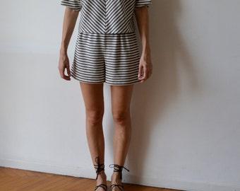 Linen jersey culottes / culottes / high waisted shorts / elegant shorts / pinup shorts / stripy shorts