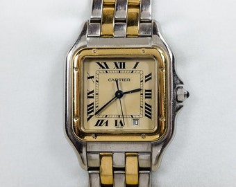 Vintage Cartier Panthere Stainless & 18K Yellow Gold Roman Dial Square Face Watch Timepiece with Original Box FREE SHIPPING